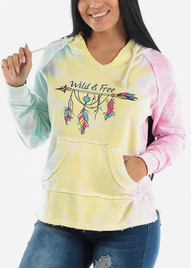 "Multicolor Graphic Hoodie ""Wild & Free"""