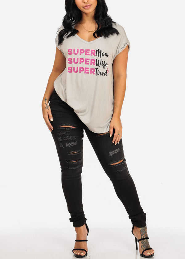 Super Graphic Light Grey Top