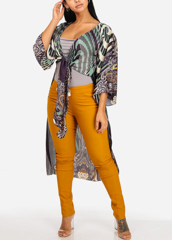 Image of Tribal Print Front Tie Maxi Cardigan