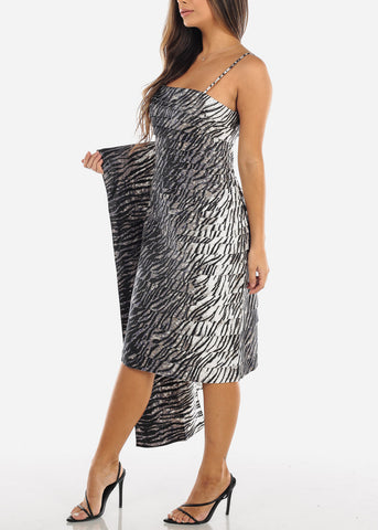 Grey Tiger Print Spaghetti Strap Dress w Shawl