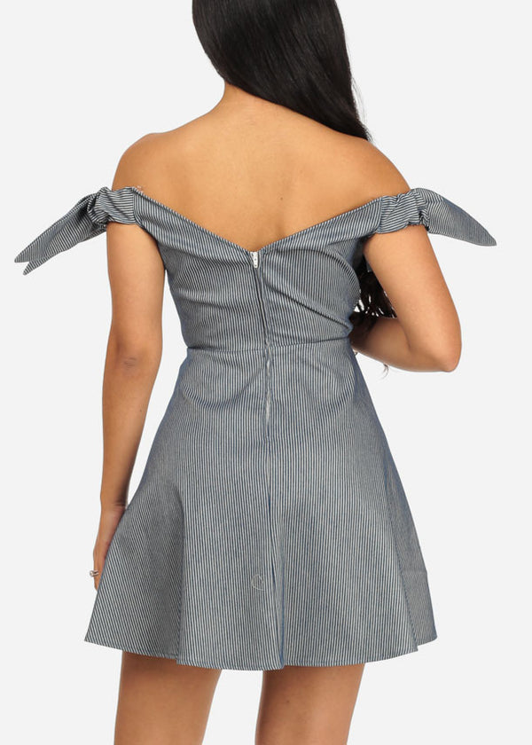 Grey Off-Shoulder Mini Dress