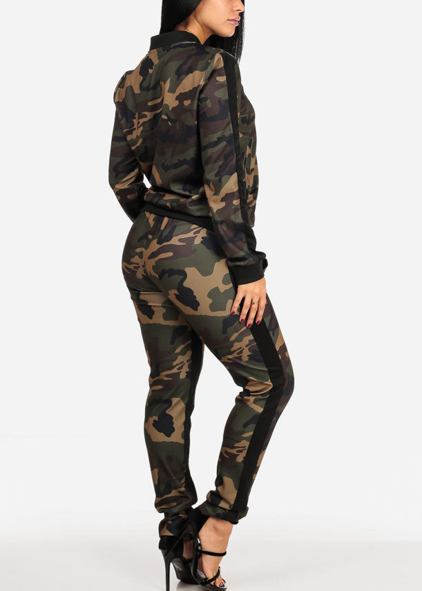 Olive Camo Print Long Sleeve Sweater W High Rise Pants (2 PCE SET)