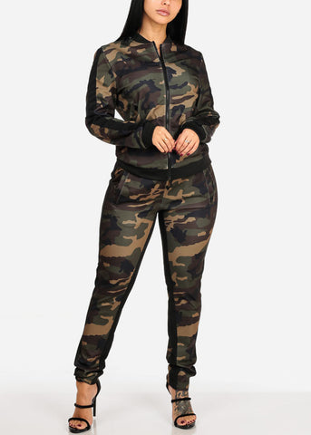 Image of Olive Camo Print Long Sleeve Sweater W High Rise Pants (2 PCE SET)