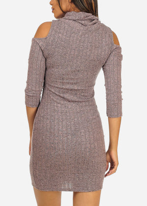 Mauve Cold Shoulder Mini Dress