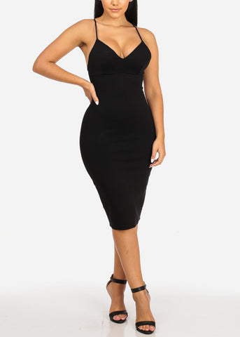Image of Black Spaghetti Strap Bodycon Dress