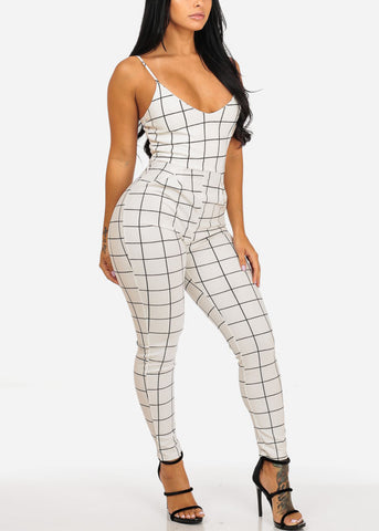 Image of Sexy White Plaid Print Jumpsuit