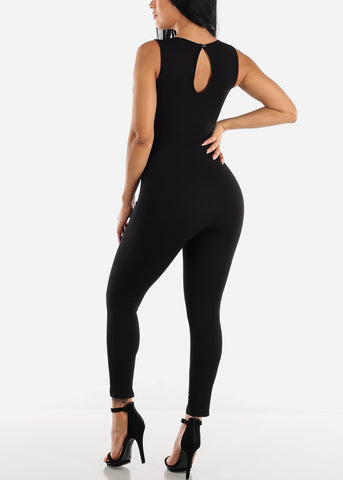 Image of Metal Ring Detail Black Jumpsuit