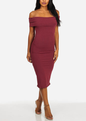 Off-Shoulder Wine Midi Dress