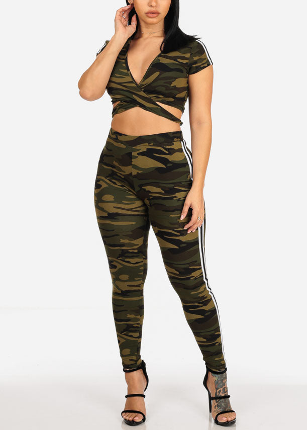 Camo Crop Top & Pants (2PCE SET)