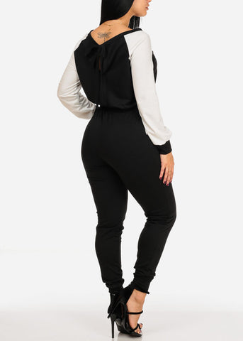 Trendy Two Tone Long Sleeve 2 Pocket  Elastic Waist Jumpsuit