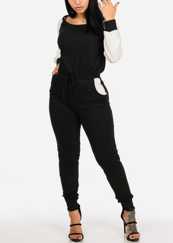 Long Sleeve Elastic Waist Jumpsuit