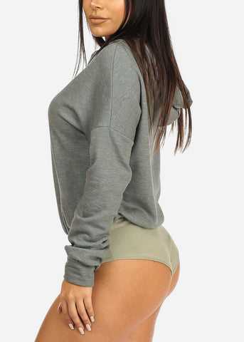 Olive Hooded Sweatshirt Bodysuit