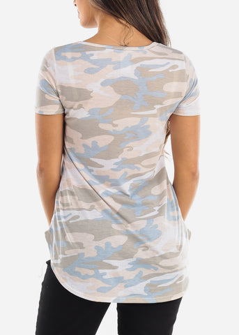 Cream Camo V-Neck Shirt