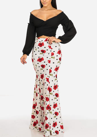 High Rise White Print Maxi Skirt