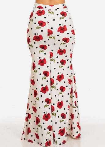 Image of High Rise White Print Maxi Skirt