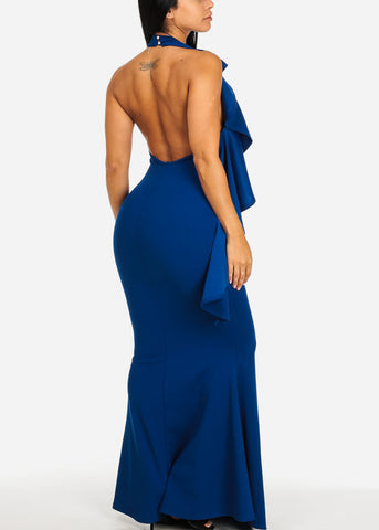 Elegant Blue Ruffled Maxi Dress