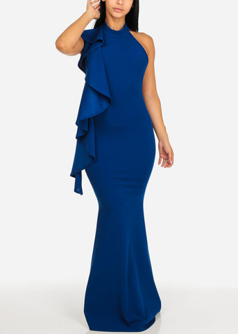 Image of Elegant Blue Ruffled Maxi Dress