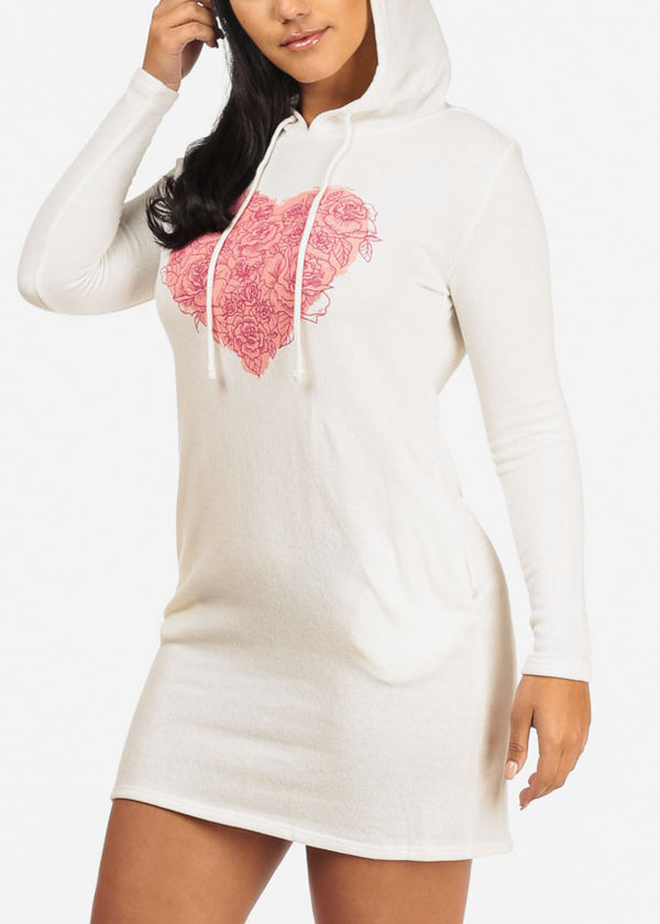 Ivory Rose Heart Sweater Dress