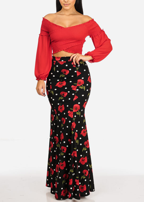 High Rise Black Print Maxi Skirt