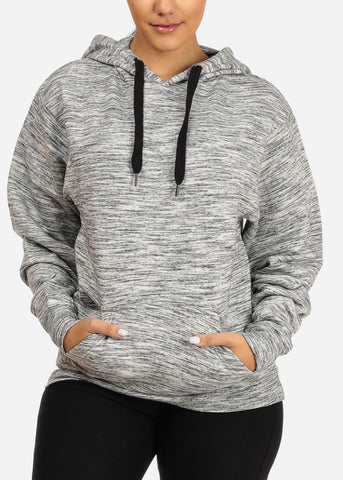 Image of Cozy Charcoal Heather Sweater W Hoodie