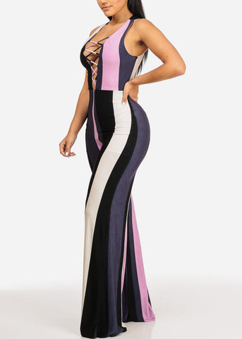 Sexy Sleeveless Lace Up V Neckline Wide Leg Stripe Jumpsuit