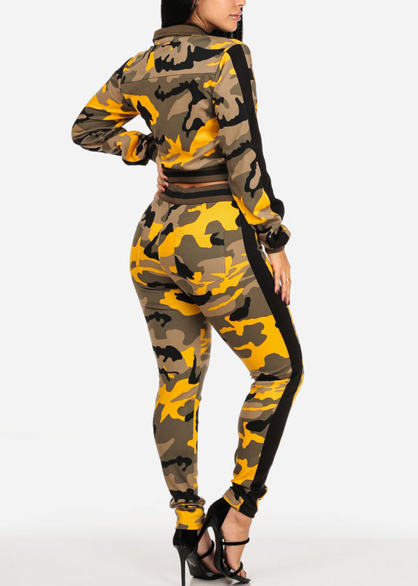Yellow Camo Cropped Jacket W Pants (2 PCE SET)