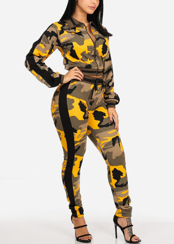 Image of Yellow Camo Zip Up Cropped Jacket W High Rise Pants (2 PCE SET)