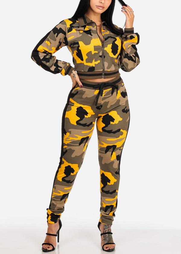 Yellow Camo Zip Up Cropped Jacket W High Rise Pants (2 PCE SET)