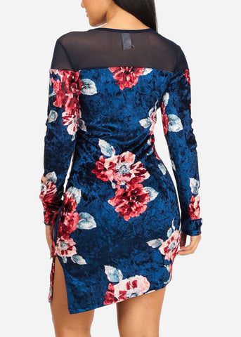 Navy Floral Print Side Slit Dress