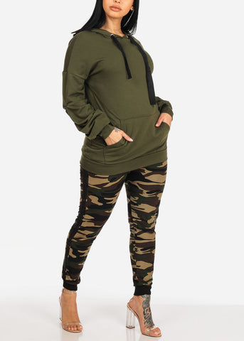 Image of Hooded Stretchy Olive Pullover Top