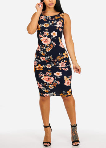 Image of Casual Navy Rose Midi Dress