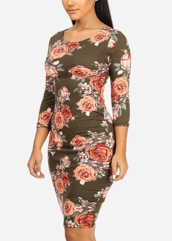 Olive Rose Bodycon Midi Dress