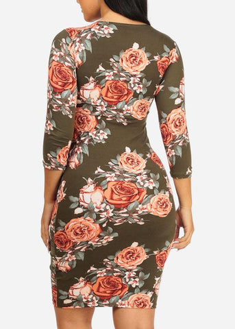 Image of Olive Rose Bodycon Midi Dress