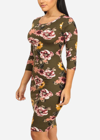 Image of Olive Floral Bodycon Midi Dress