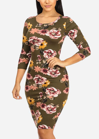 Olive Floral Bodycon Midi Dress