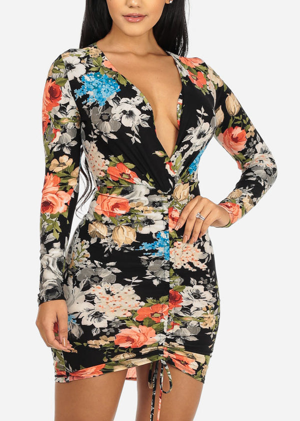 Multicolored Floral Print Bodycon Dress