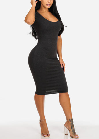 Image of Grey Stretchy Bodycon Dress