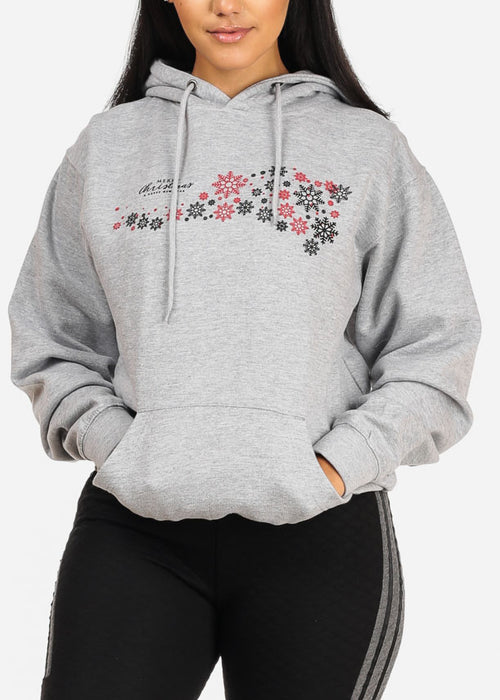 Merry Christmas Snowflare Graphic Print Long Sleeve Cozy Grey Sweater W Hood