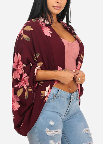 Image of Casual Floral Print Burgundy Cardigan