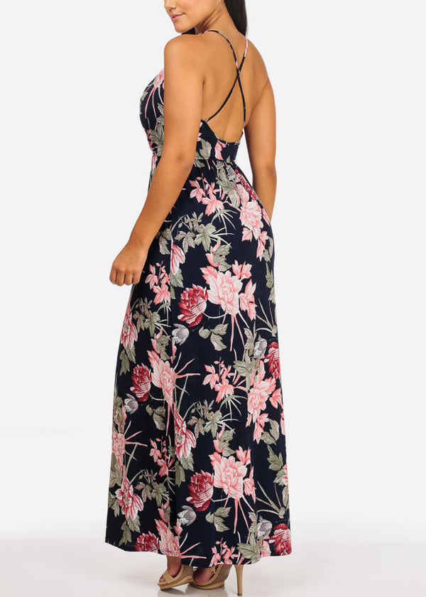 Navy Floral Print Side Slit Maxi Dress