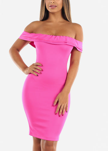 Image of Sexy Off Shoulder Pink Bodycon Mini Dress