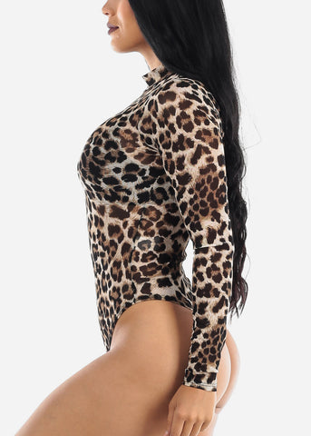 Image of Animal Print See Through Bodysuit
