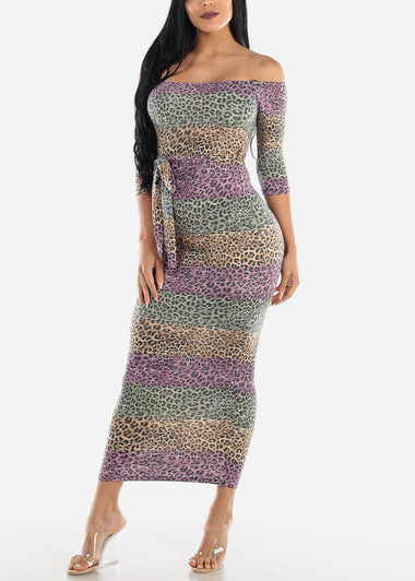 Off Shoulder Animal Print Maxi Dress
