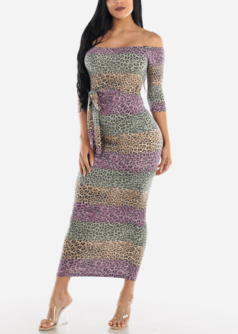 Image of Off Shoulder Animal Print Maxi Dress