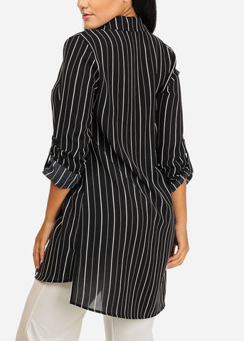Image of Black Stripe Button Up Tunic Top