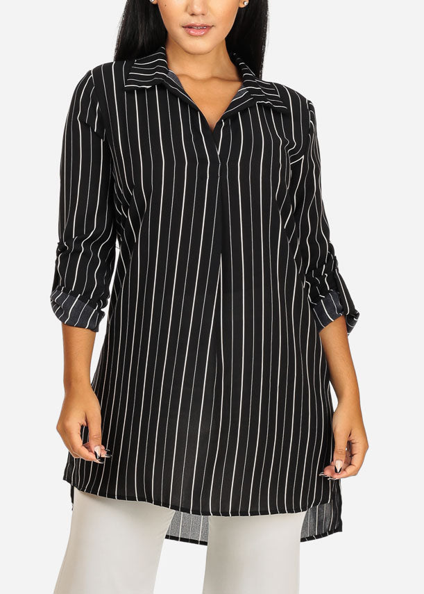 Black Stripe Button Up Tunic Top