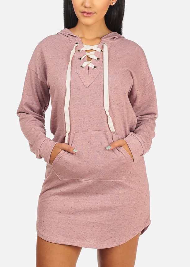 Light Pink Lace Up Mini Dress