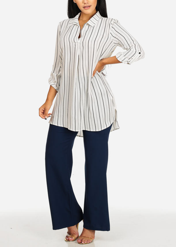 White Stripe Button Up Tunic Top