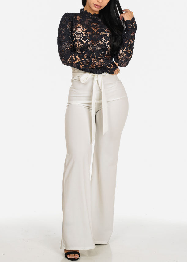 Evening Wear High Waisted Ivory Pants