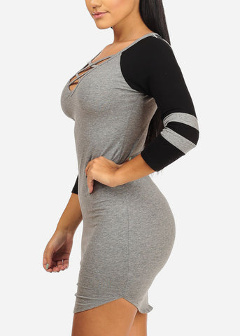 Image of Casual Grey Stretchy Mini Dress
